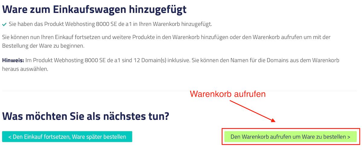 Netcup Gutschein Warenkorb